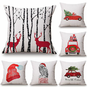 Merry-Christmas-Cotton-Linen-Cushion-Cover-Pillow-Case-Bed-Car-Sofa-Home-Decor