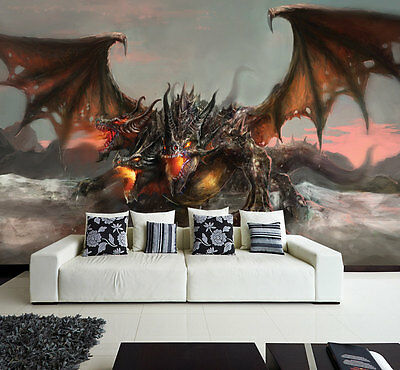 Wall removable sticker dragon fantasy tale horror fire harry potter vinyl mural