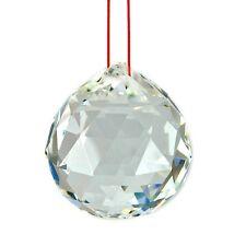 """Feng Shui Hanging Crystal Ball 2.4"""" 60mm Large Faceted Rainbow Prism Sphere"""