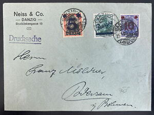 1921 Danzig Germany Commercial Cover To Dovensau Provisional Stamp