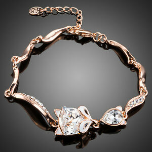 Cute-Sparkly-Shiny-Clear-White-Austria-Crystal-Rose-Gold-Plated-Fox-Cat-Bracelet