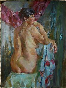 Image Is Loading Russian Ukrainian Oil Painting Impressionism Female Figure Woman