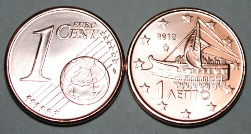 2012 Greece 1 Cent Coin Unc from Roll BU Nice KM#181