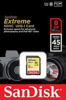 Sandisk 8g Extreme Class 10 Sdhc Card For Nikon Df D800 D5300 D5200 D3300 D3200