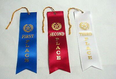 AWARD RIBBONS SET OF THREE 1ST 2ND 3RD PLACE RIBBONS