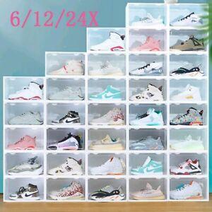 Boîte à Chaussures Plastique Housse Tiroir Stockage Empilable Rangement 6/12/24