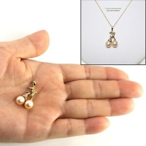 "Diamond /& AAA 8-8.5mm Pink Cultured Pearl Pendant ¾"" TPJ 14k Solid Yellow Gold"