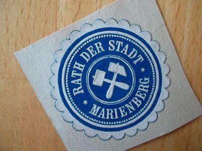 15143 Clever Siegelmarke Rath Der Stadt Marienberg Rohstoffe Sind Ohne EinschräNkung VerfüGbar