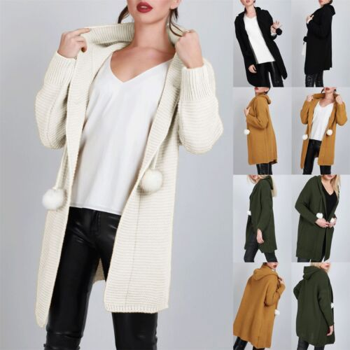 Ladies Open Front Womens Pom Pom Top Chunky Knitted Oversized Hooded Cardigan