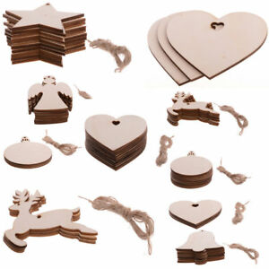 10X-Blank-Christmas-Tree-Decorations-Wooden-Shapes-Ornaments-Craft-Xmas-SD