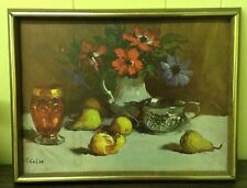 "VTG 50s STILL LIFE LITHOGRAPH PRINT BY R. COLAO FLOWERS FRUIT WINE 17""X 13.5"""