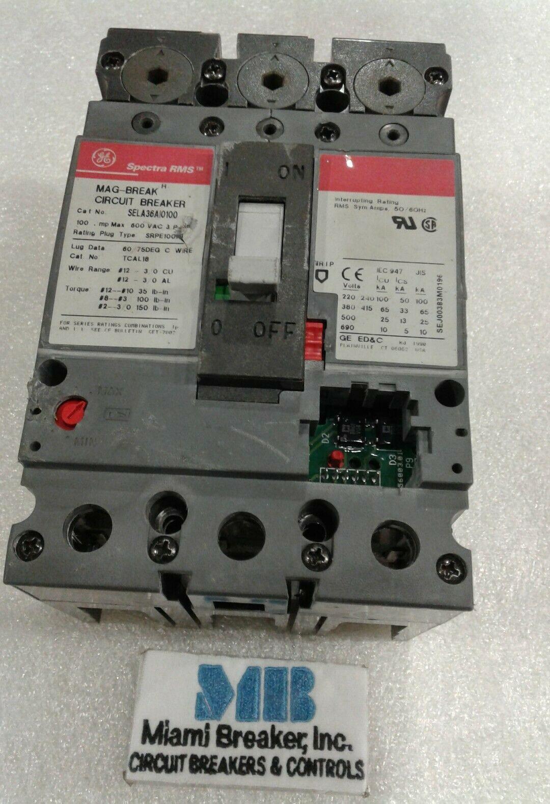 GE  100 Amp 3 Pole SELA36AT0100 Spectra Circuit Breaker 2 year warranty