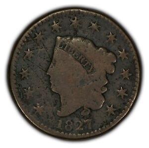 1827 1c Coronet Head Large Cent - Better Date - VG Details - SKU-Y2372