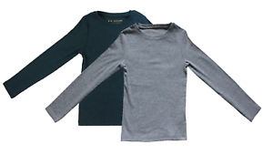 Next-Kids-Boys-Grey-Green-Long-Sleeve-Plain-T-shirt-Top-Children-Years-Age-3-9yr