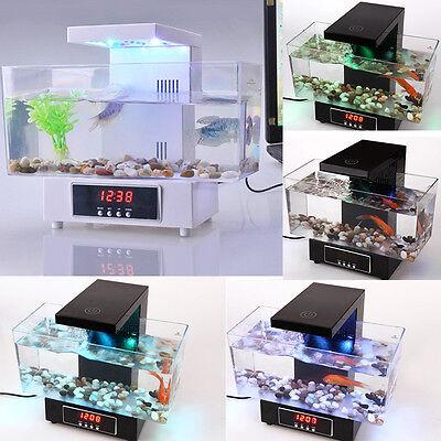 Mini Fish Tank USB Desktop LED Colorful Light LCD Alarm Aquarium Home Office New
