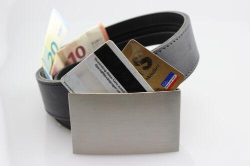 2 en 1 en cuir portefeuille coffre-fort ceinture avec safe CARD Buckle pour 2 cartes EC