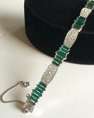 Vintage Trifari Bracelet~Art Deco Style~Green/Clear Rhinestone/Silvertone~Signed