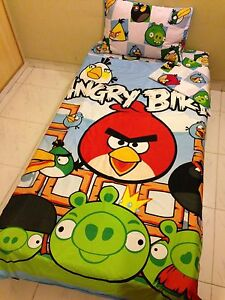 NEW-ANGRY-BIRDS-4PC-TWIN-SINGLE-BEDDING-SET-DUVET-COVER-2-SHEETS-PILLOW-COTTON