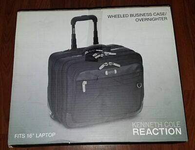 """Black Kenneth Cole Reaction /""""The Wheel Thing/"""" Rolling Computer Case New Free"""