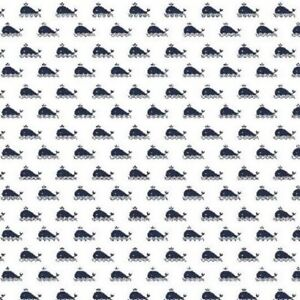 Fabric Quilting Dressmaking Tiny Whales Navy Cotton Classics Nautical