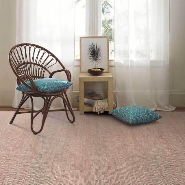 Red Rust Wool Floor Rug Diamond Geometric Reversible Flatweave Carpet 160x230cm