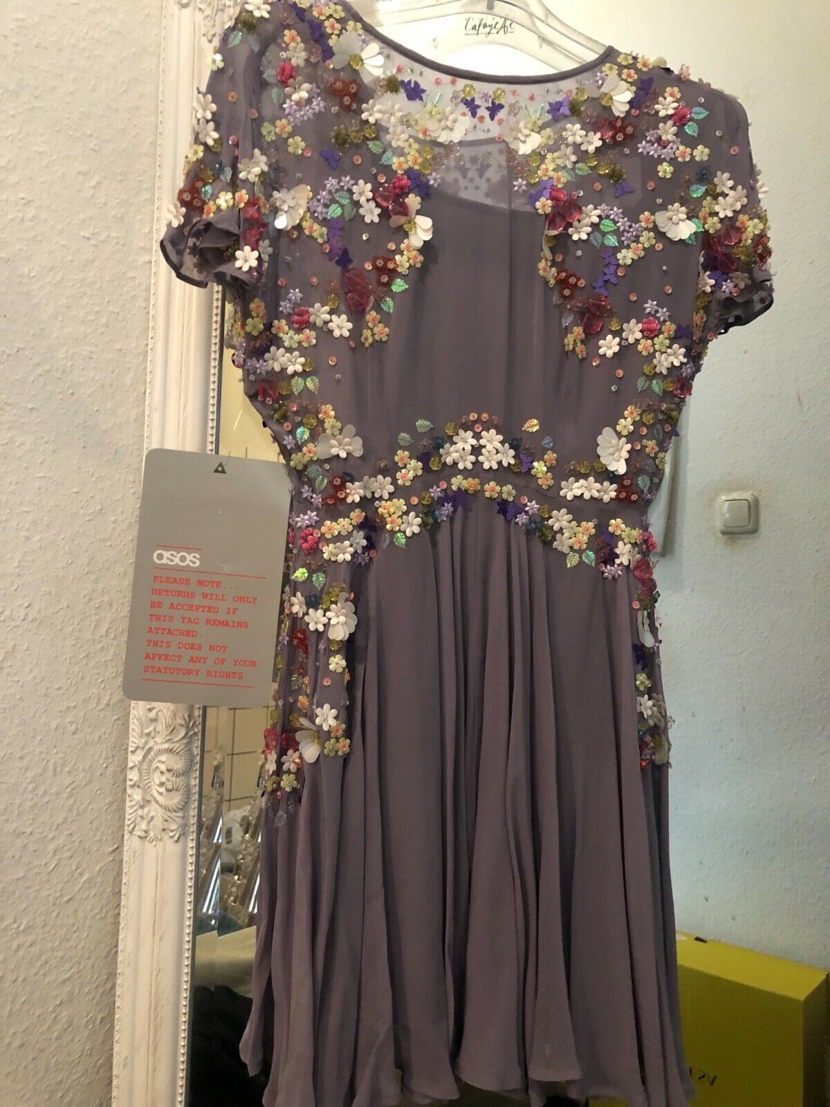Asos collection premium kleid 3D Blauten dress dress dress ribe mill fleurs 34 xS | Fein Verarbeitet  | Verkaufspreis  47bad0