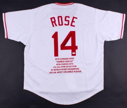 Pete Rose Signé Reds Carrière Souligner Stat Maillot Inscrit  10810cm ( JSA Coa