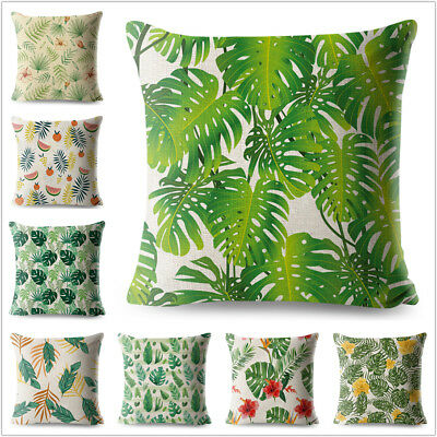 Tropical Green Leaves Palm Leaf Throw Pillow Case Home Sofa Cushion Cover shan