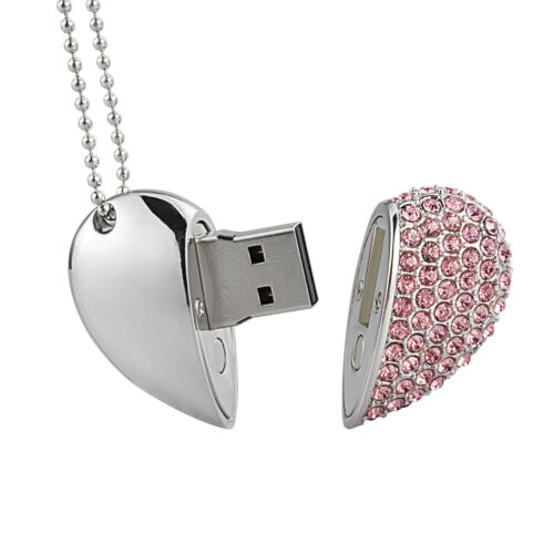Fashion 16GB-64GB USB Flash Drive Metal Crystal Heart Design Flash Memory Stick
