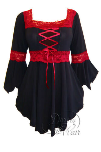 Plus Size Gothic Medieval Black Red Renaissance Lacing Corset Top 1X 2X 3X 4X 5X