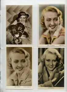 Joan Blondell 1930s movie film star postcard collection lot of 4 vintage w/color