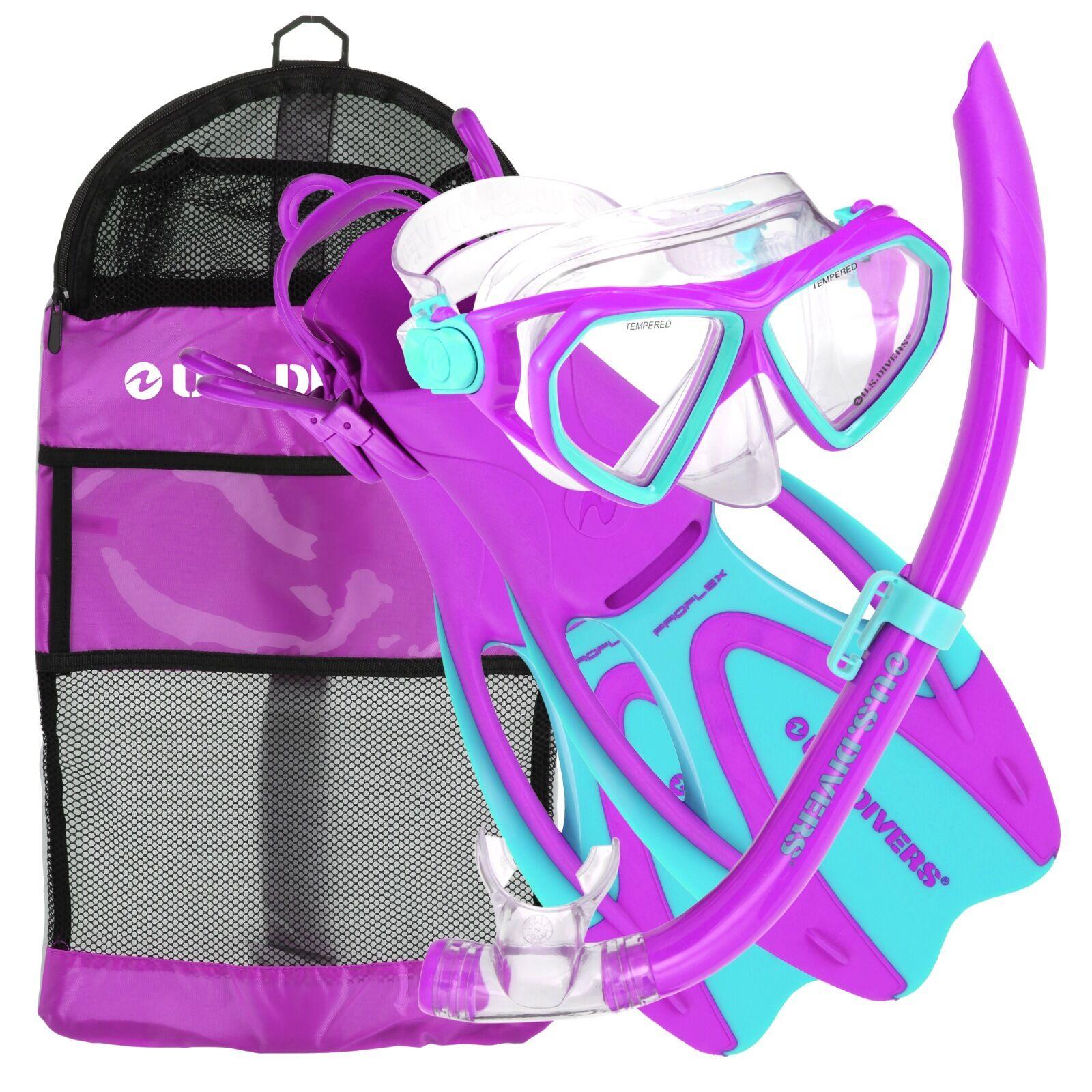 US Divers Dorado Sea-Breeze Pro-Flex JR Snorkeling Set, LG XL (3-6), Fun Purple