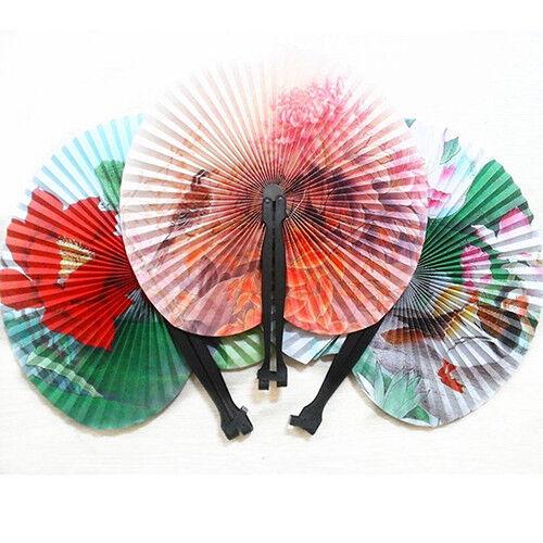 CO_ KE_3Pcs Foldable Chinese Oriental Floral Paper Hand Fans Wedding Table Favor