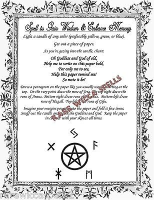 Enhance Memory Wisdom Spell 1pg Wicca Book of Shadows Pagan Witch Rune Rituals