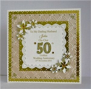 golden 50th wedding anniversary card for wife husband mum dad etc