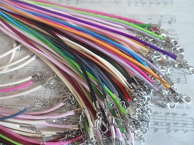 10 x Falso Pelle Collana Spago~ Fine Liscio Intrecciato,Misto colour.Craft~Hobby