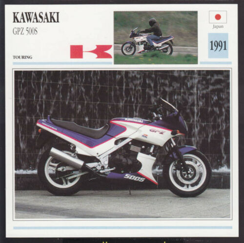 1991 Kawasaki GPZ 500S 498cc Japan Bike Motorcycle Photo Spec Info Stat Card