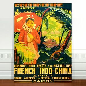 "Saigon Vintage Travel Poster Art ~ CANVAS PRINT 24x18"" French Indo China"