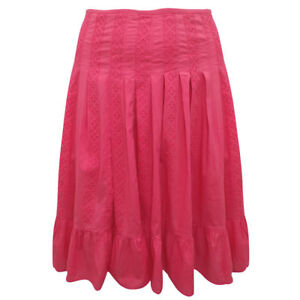 Plus-Size-Coral-Pink-100-Cotton-Knee-Length-Panelled-Tummy-Control-Skirt-14-24