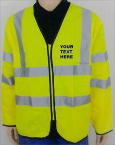 Grantham Hi Vis Visibility Viz Long Sleeve Safety Vest With Red Brace
