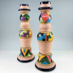 Mexican Talavera Terra Cotta Candlesticks Candle Holders Handmade Hand Painted