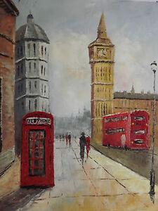 Large Peinture Huile Toile Originale Ville Londres Anglais ...
