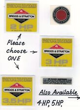 Briggs & Stratton Vintage Minibike Repro 'Yellow' Engine Decals