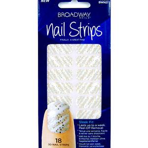 Broadway-Nails-3D-Nail-Strips-Polish-Stickers-White-w-Gold-Sparkle-18-strips