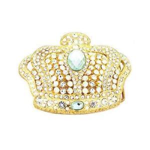 Royal King Crown HIP HOP Clear Rhinestones Fashion Pewter Metal Men Belt Buckle