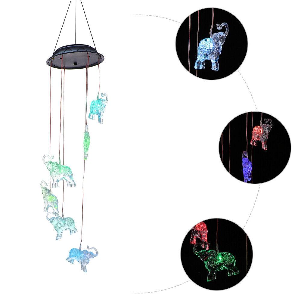 1pc LED Solar Hanging Elephant Wind Chime Light Wind Chime Lamp