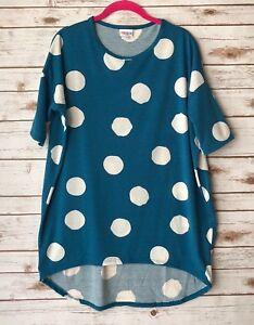 LuLaRoe-Womens-Small-IRMA-Teal-Blue-Polka-Dot-Short-Sleeve-Shirt-Top-Tunic