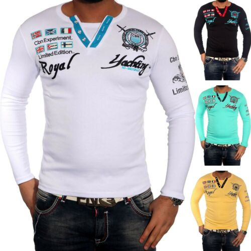 BAXBOY Herren Langarm V-Neck Longsleeve T-Shirt Poloshirt Schwarz//Weiß BB-147