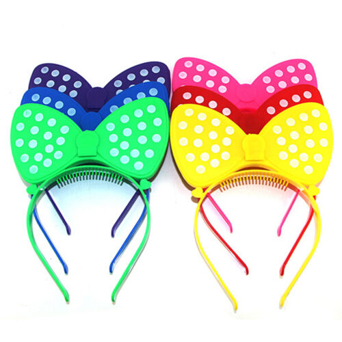 Festival LED Blinking Lighting Up Bow Minnie Headband Flashing light Hair Band0U