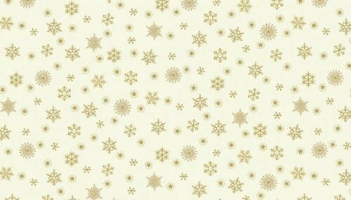 Makower Metallic Snowflake Cream 100/% Cotton FQ//Metre Patchwork Quilting